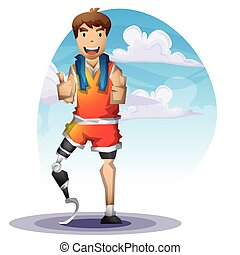 Cartoon vector man with Prostheses leg with separated layers...