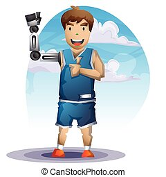 Cartoon vector man with Prostheses hand with separated...