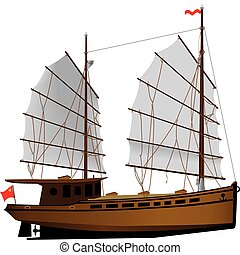 Oriental ship - Oriental sailing ship vector color...