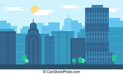City Life Concept - Day City Life Concept. Town street....