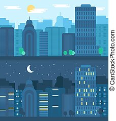 City Life Concept - Day and Night City Life Concept. Town...