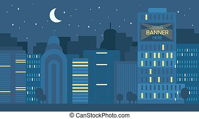 City Life Concept - Night City Life Concept. Town street....