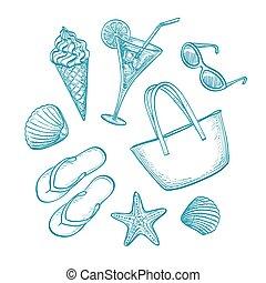 Summer sketch set. Hand drawn vector illustration. Retro...
