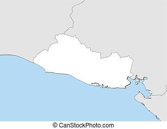 Map - El Salvador - Map of El Salvador and nearby countries,...