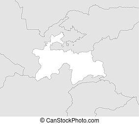 Map - Tajikistan - Map of Tajikistan and nearby countries,...