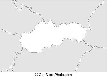 Map - Slovakia - Map of Slovakia and nearby countries,...