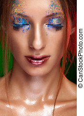 Woman with powder on face in creative make up style