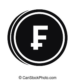 Franc coins icon, simple style - Franc coins icon in simple...