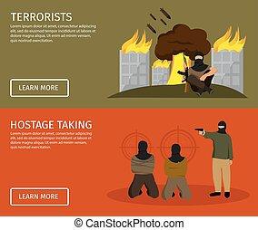 Terrorism Flat Banner Set