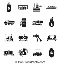 Compressed And Liquid Natural Gas Icons - Compressed and...
