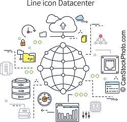 Datacenter Line Illustration - Datacenter line illustration...