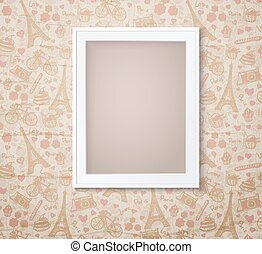Vintage white photoframe on french fashioned wallpaper