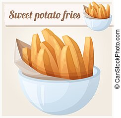Sweet potato fries. Detailed vector icon. Series of food and...