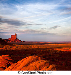 Sun Fading Over Monument Valley