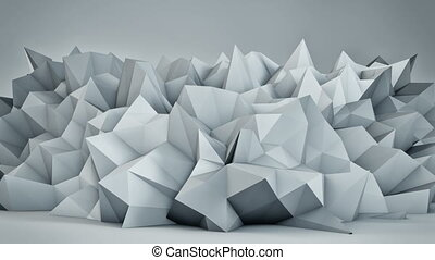 Chaotic white surface 3D render loop - Chaotic white surface...