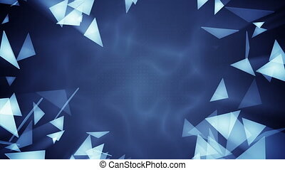 Glass triangles flying Seamless loop abstract 3d render...