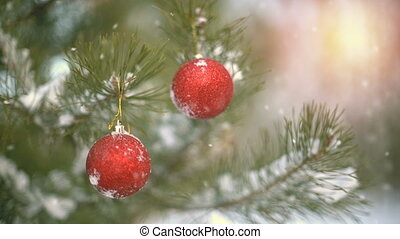 Christmas decoration on pine branch slowmotion seamless loop...