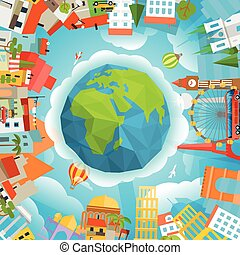 Travel concept vector illustration Around the world