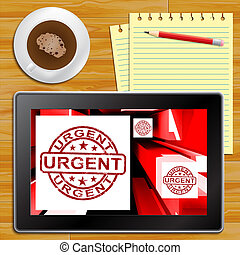 Urgent On Cubes Shows Urgent Priority Tablet - Urgent On...