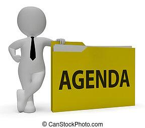 Agenda Folder Represents Binder Schedule 3d Rendering -...