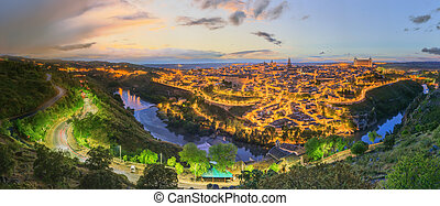 Night view of Toledo cityscape and Tagus River from the...