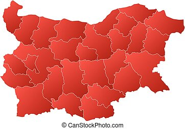 Map - Bulgaria - Map of Bulgaria with the provinces, filled...