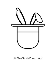 Magician hat with rabbit icon, outline style - Magician hat...