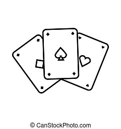 Playing cards icon, outline style - Playing cards icon in...