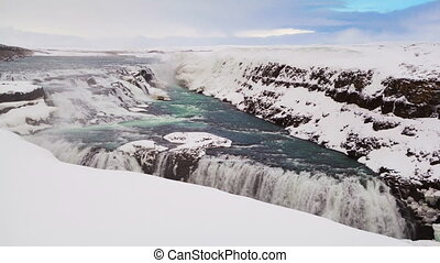 Time lapse of waterfall Gullfoss in Iceland, wintertime
