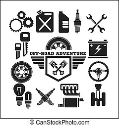 off-road adventure and car parts icon set - off-road...