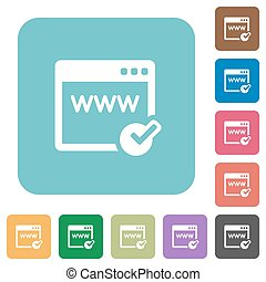 Flat domain registration icons on rounded square color...