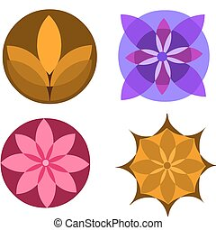 colorful abstract flower icons on white, vector illustration