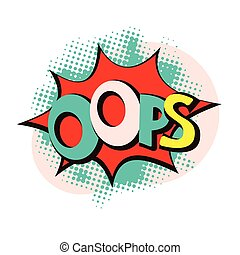 oops pop art style abstract vector illustration