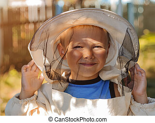retrato, de, Un, niño, en, apicultor, protector, ropa