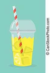 glass with lemonade, lemon slices tube and pieces of ice on...