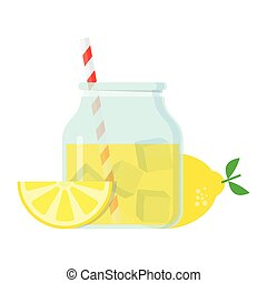 glass jar with lemonade, lemon slices tube and pieces of ice...