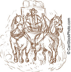 Cowboy stagecoach driver and horses front view isolated on...
