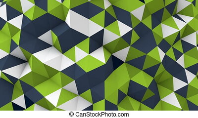 low poly geometric 3D render surface waving seamless loop -...