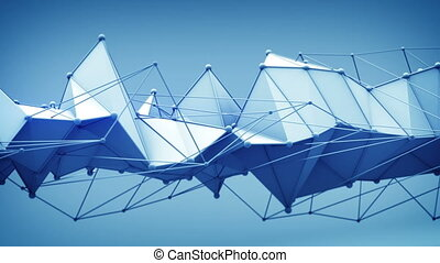Futuristic sci-fi blue shape. Abstract 3D render animation...