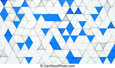 White and blue extruded triangles 3D render loopable...