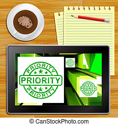 Priority On Cubes Shows Urgent Dispatch Tablet - Priority On...