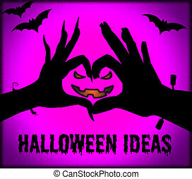 Halloween Ideas Represents Trick Or Treat And Autumn -...