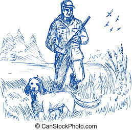 Hunter and trained pointer gun dog hunting - hand drawing...