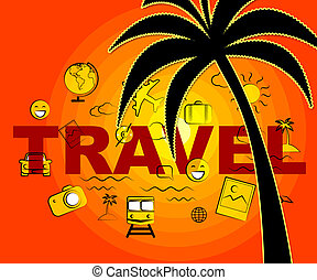 Travel Icons Indicates Tours Expedition And Trips - Travel...