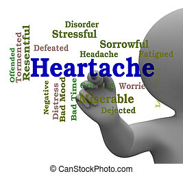 Heartache Word Represents Worry Agony 3d Rendering -...