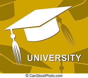 University Mortarboard Shows Academic Graduation And Educational