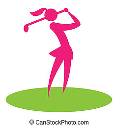 Golf Swing Woman Shows Female Player And Hobby - Golf Swing...