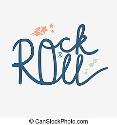 Rock and Roll Lettering for t-shirt, sticker, print, fabric,...