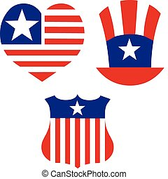 American patriotic symbols set for design and decorate....