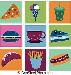collection of icons of desserts and fast food